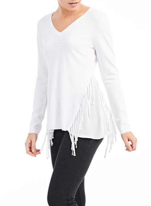 Fringed V-Neck Knit Sweater, Off White, hi-res