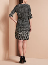 Linea Domani 3/4 Sleeve Graphic Print Dress, Black, hi-res