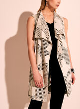 Perforated Faux Suede Cascade Vest, Grey, hi-res