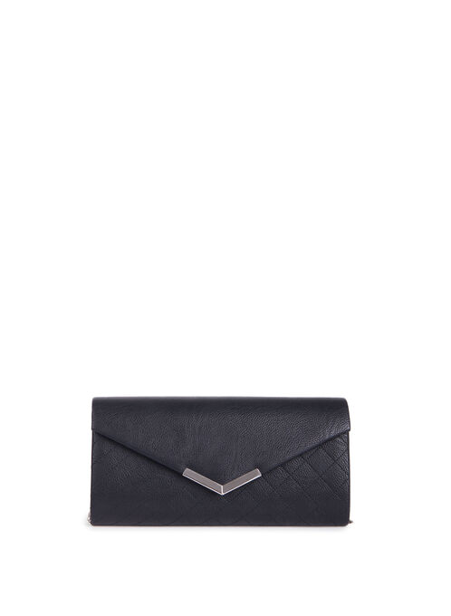 Faux Leather Quilted Clutch , Black, hi-res