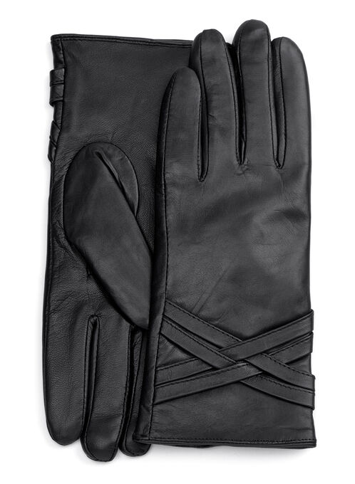 Criss-Cross Leather Gloves, Black, hi-res