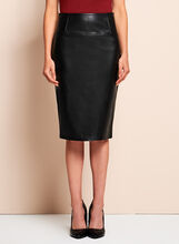 Faux Leather Pencil Skirt, Black, hi-res