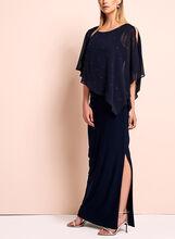 Frank Lyman Embellished Poncho Dress, Blue, hi-res