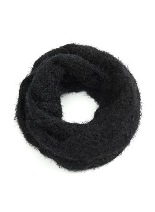 Diamond Cable Muffler Scarf, Black, hi-res