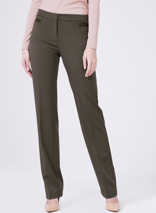 Lauren Tailored Fit Straight Leg Pants , Green, hi-res
