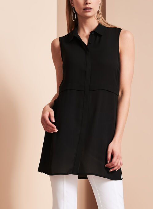 Lily Moss Button Down Tunic, Black, hi-res
