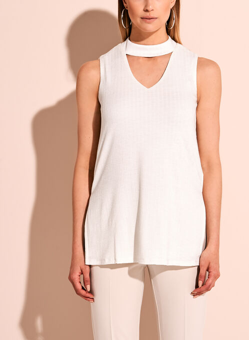 Sleeveless Knit Choker Neck Tunic, White, hi-res