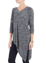 3/4 Sleeve Asymmetric Tunic Top, Black, hi-res