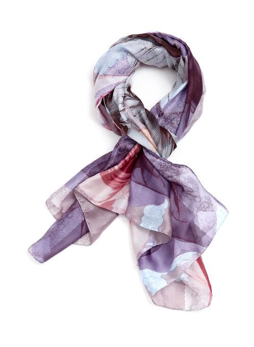 Lace & Floral Print Scarf, Multi, hi-res