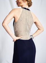 Halter Neck Beaded Back Gown, Blue, hi-res