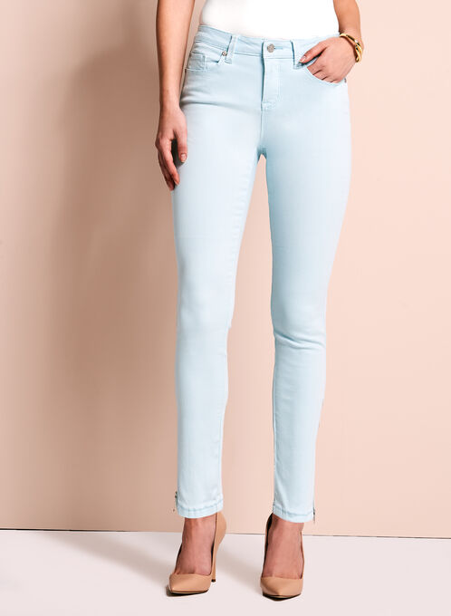 Zipper Trim Slim Leg Jeans, Blue, hi-res