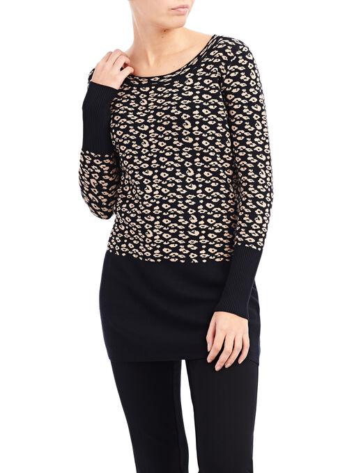 Knit Leopard Print Tunic Sweater, Black, hi-res