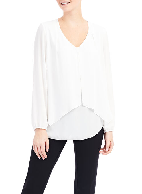 Frank Lyman Front Layer Blouse, Off White, hi-res