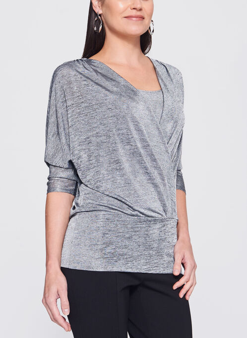 Dolman Sleeve Faux Wrap Top, Silver, hi-res