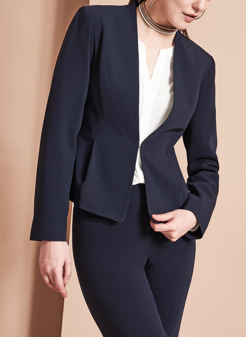Louben - Collarless Peplum Blazer, Blue, hi-res