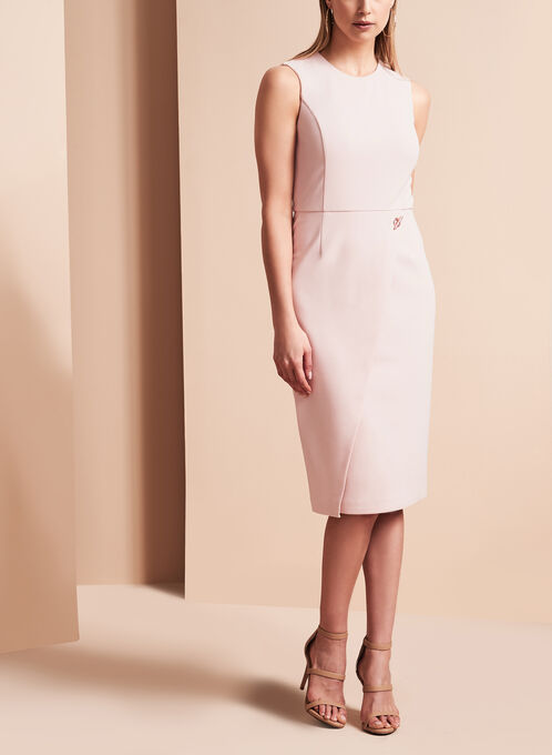 Ivanka Trump Scuba Crepe Dress , Pink, hi-res