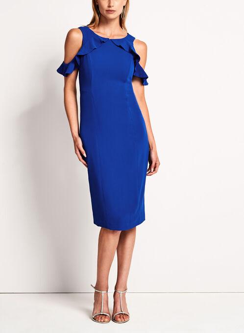 Maggy London - Robe à volants et épaules dénudées, Bleu, hi-res
