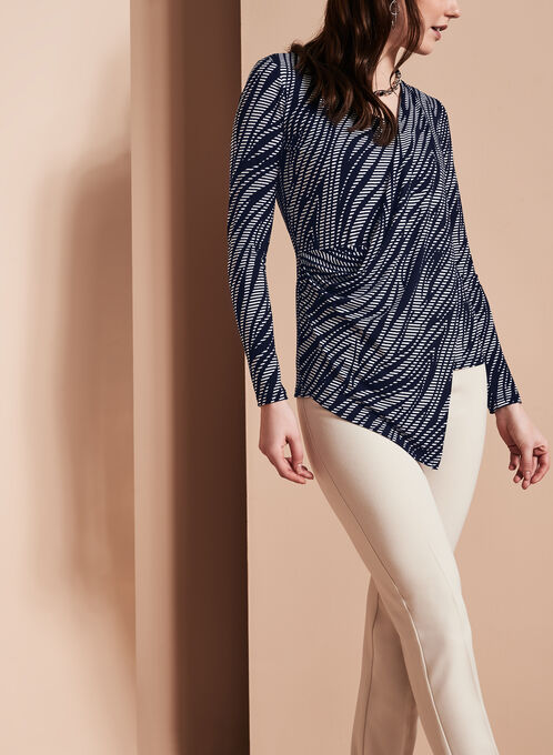 Asymmetric Faux Wrap Top , Blue, hi-res