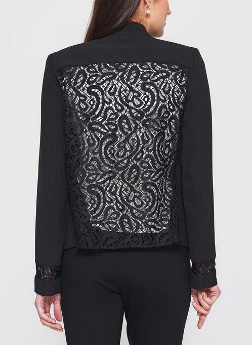 Tahari - Lace Trim Open Front Blazer, Black, hi-res
