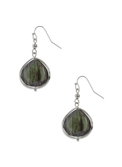 Boucles d'oreilles avec pierre facettée, Vert, hi-res