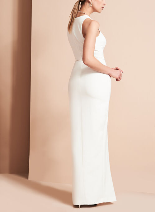 Crêpe Asymmetrical Ruffle Gown , Off White, hi-res