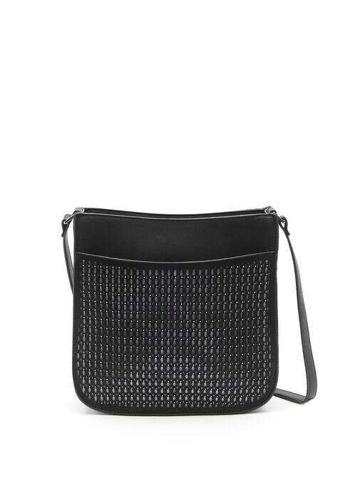 Studded & Perforated Crossbody Bag, Black, hi-res