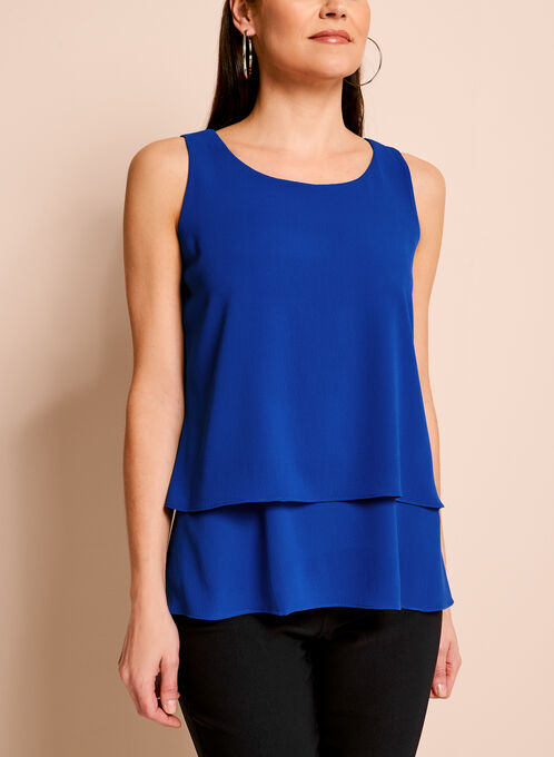 Sleeveless Double Layer Crepe Blouse, Blue, hi-res