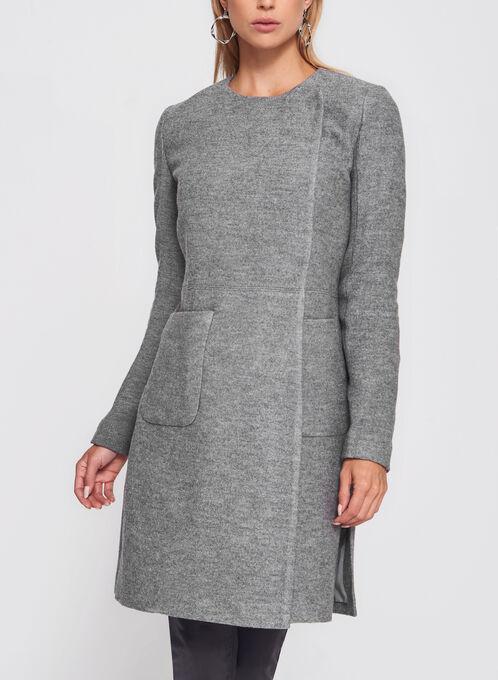 Wool Blend Wrap Collar Coat, Grey, hi-res