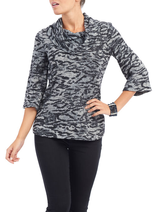 3/4 Sleeve Printed Cowl Neck Top, Black, hi-res