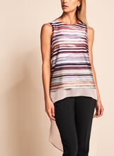 High-Low Stripe Print Blouse, , hi-res