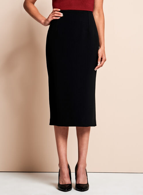 Louben - Side Slit Pencil Skirt , Black, hi-res