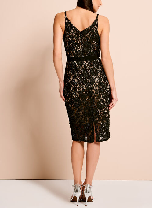 Contrast Lace Slip Dress, Black, hi-res