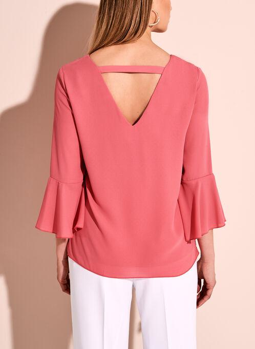 Ruffle Sleeve V-Neck Blouse, Pink, hi-res