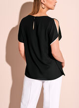 Contrast Double Layer Boat Neck Top, Black, hi-res