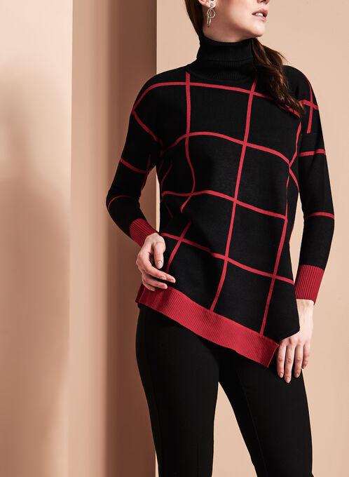 Grid Print Turtleneck Sweater, Black, hi-res