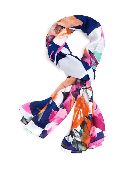 Foulard rectangulaire à carreaux et motif floral , Bleu, hi-res