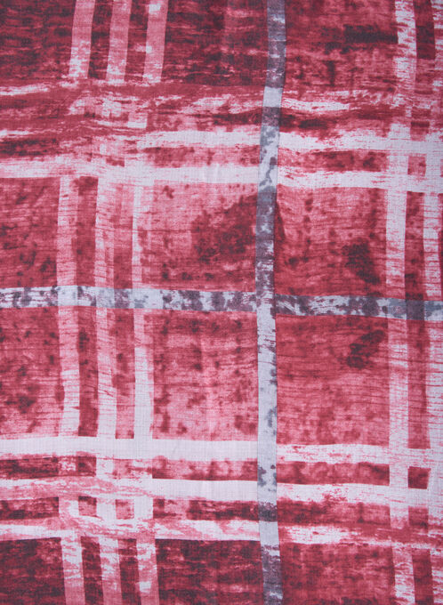 Jacquard Plaid Print Scarf, Red, hi-res