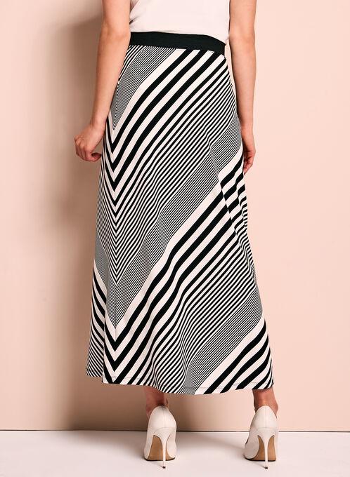 Graphic Stripe Print Maxi Skirt, Black, hi-res