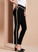 Slim Leg Piping Trim Pants, Black, hi-res