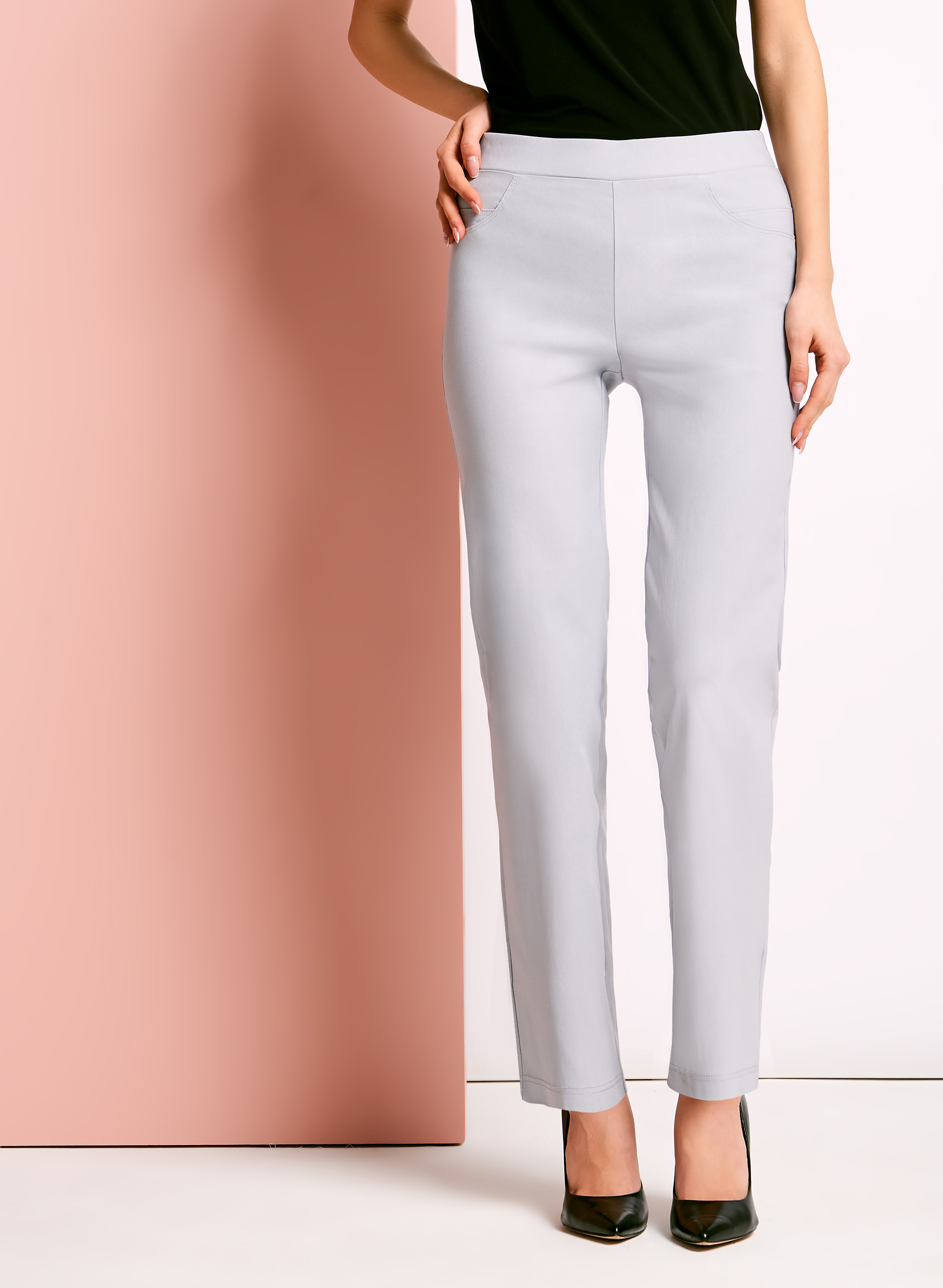 City Fit Pull On Straight Leg Pants, Silver, hi-res