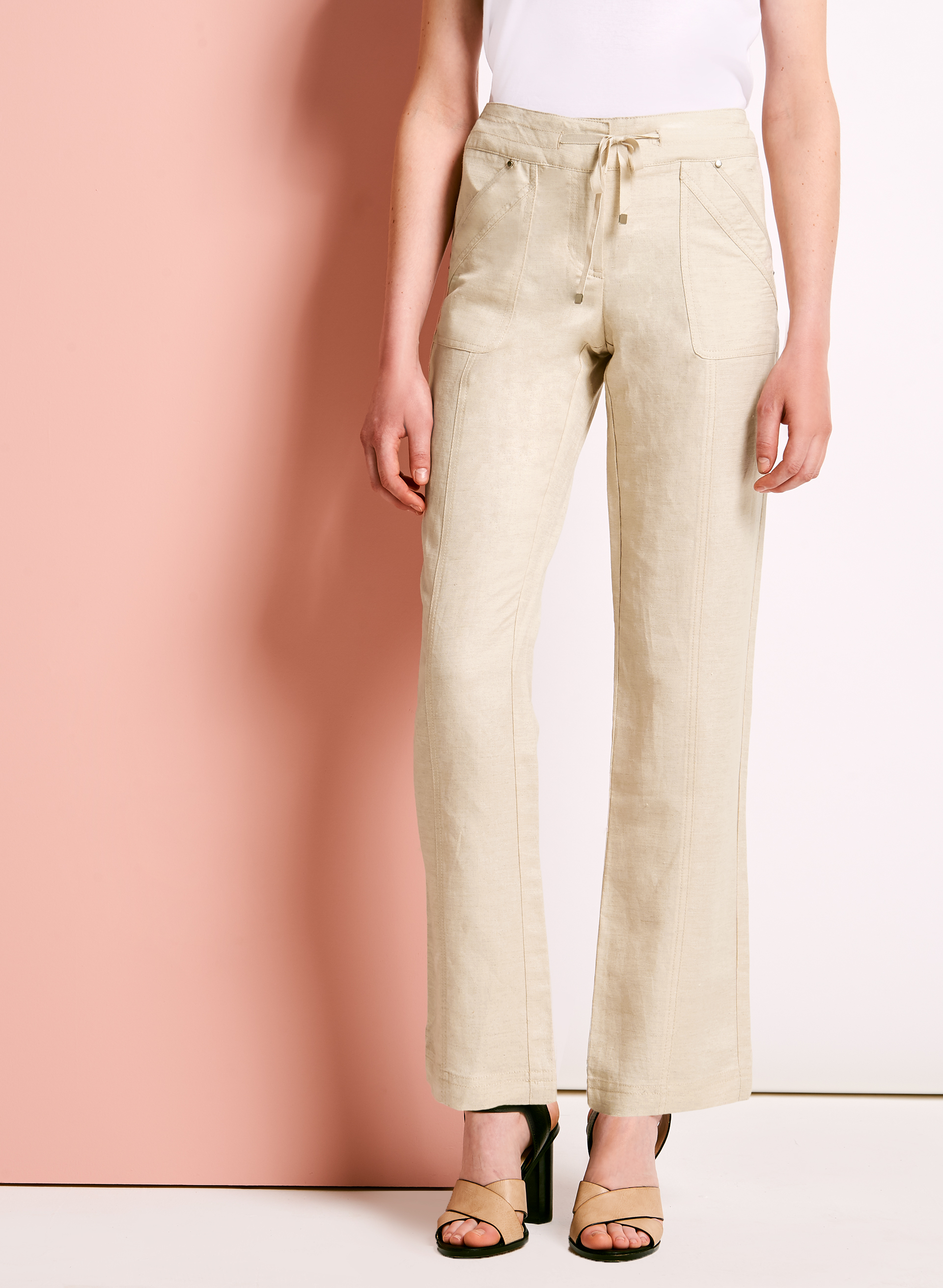 Modern Fit Straight Leg Linen Pants, Grey, hi-res