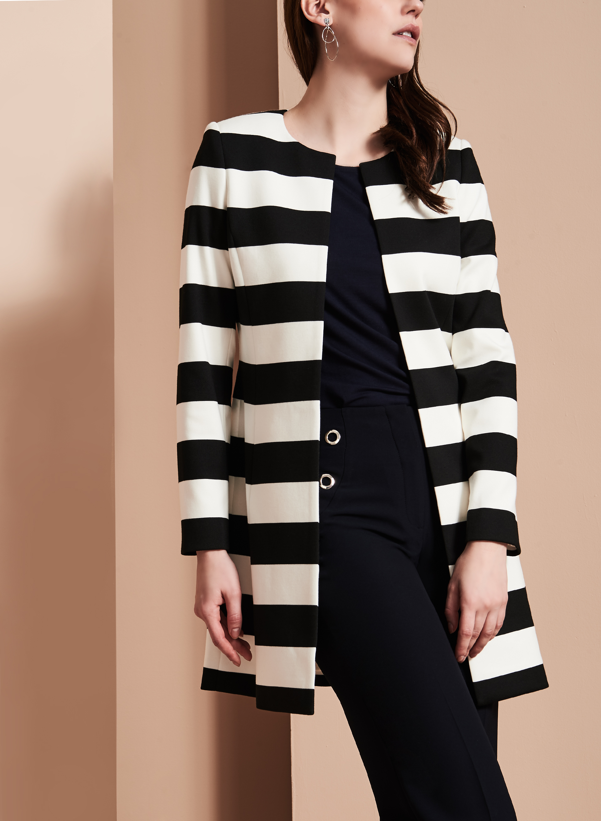 Ponte Stripe Print Jacket, Black, hi-res