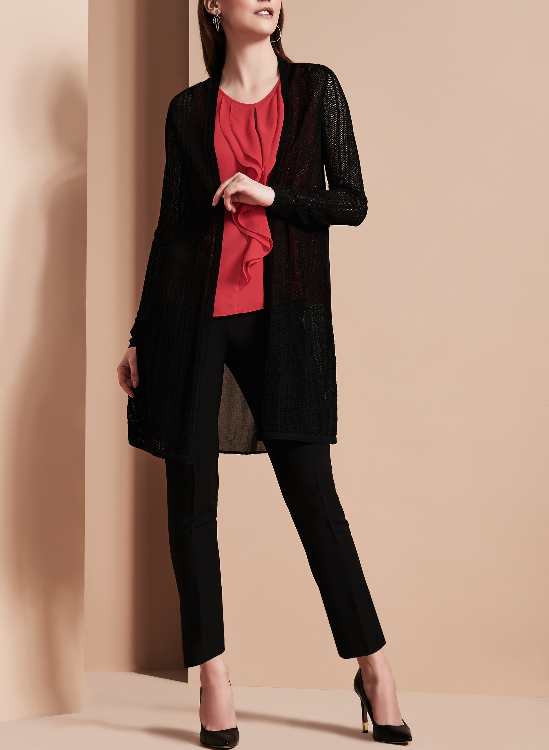 Pointelle & Chiffon Cardigan , Black, hi-res