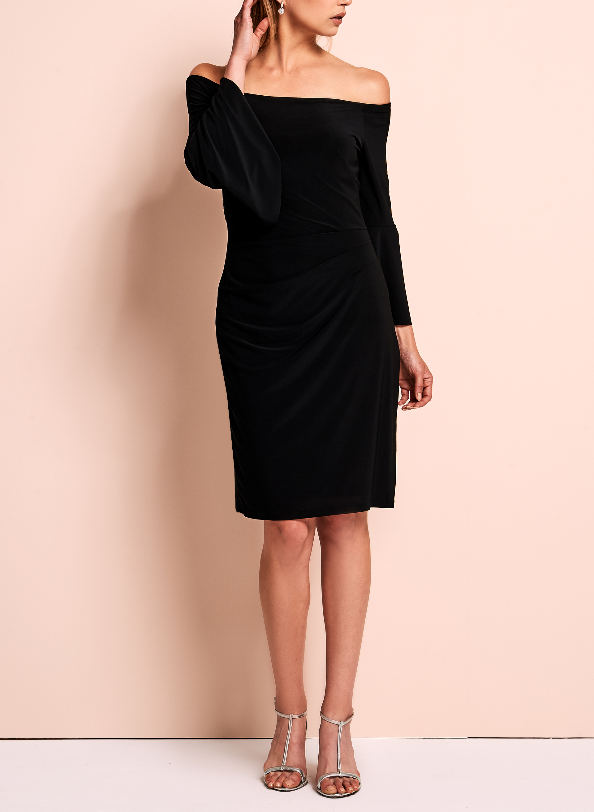 Cachet - Off The Shoulder Bell Sleeve Dress, Black, hi-res