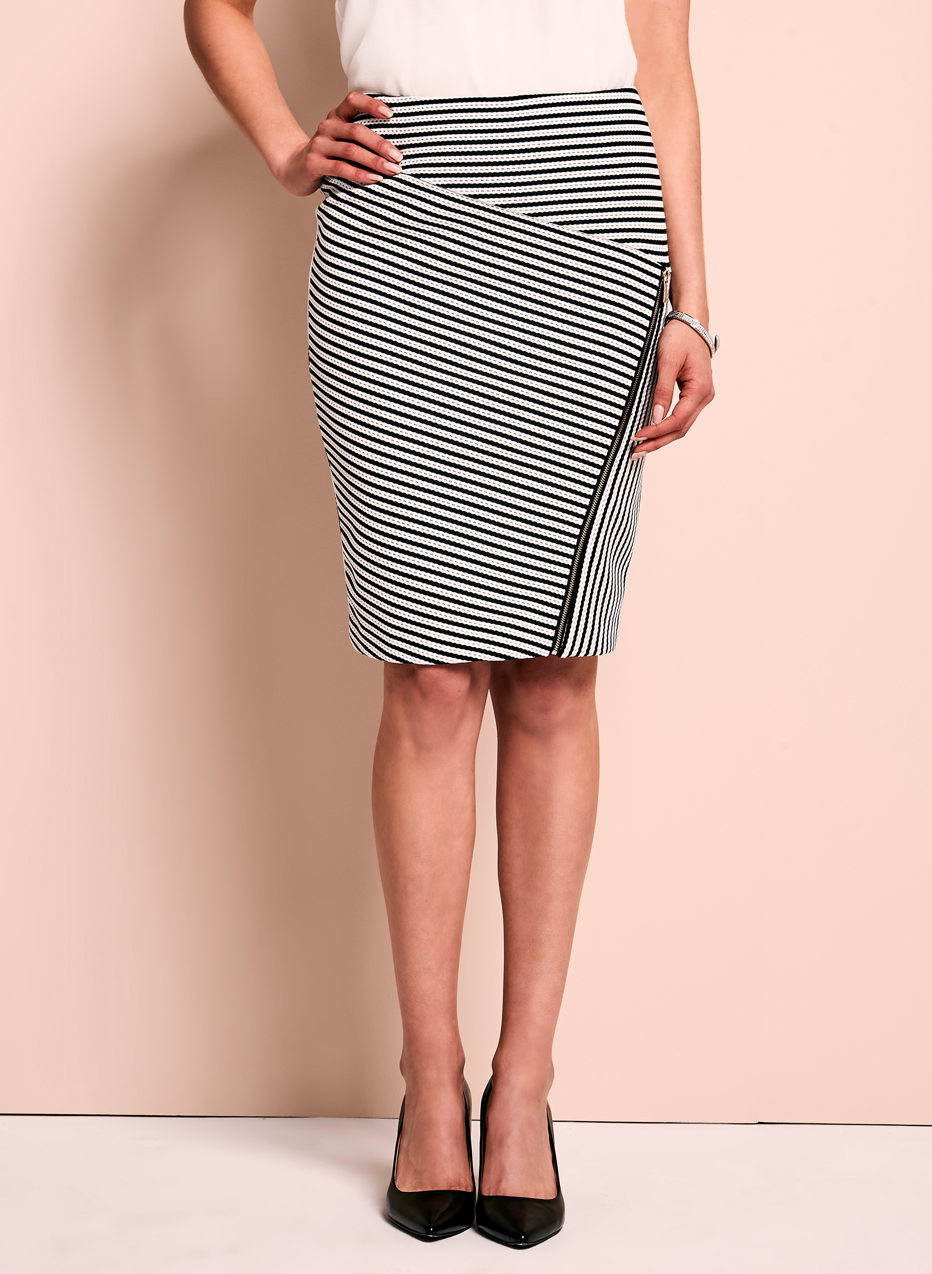 Zipper Trim Pointelle Stripe Skirt, Black, hi-res