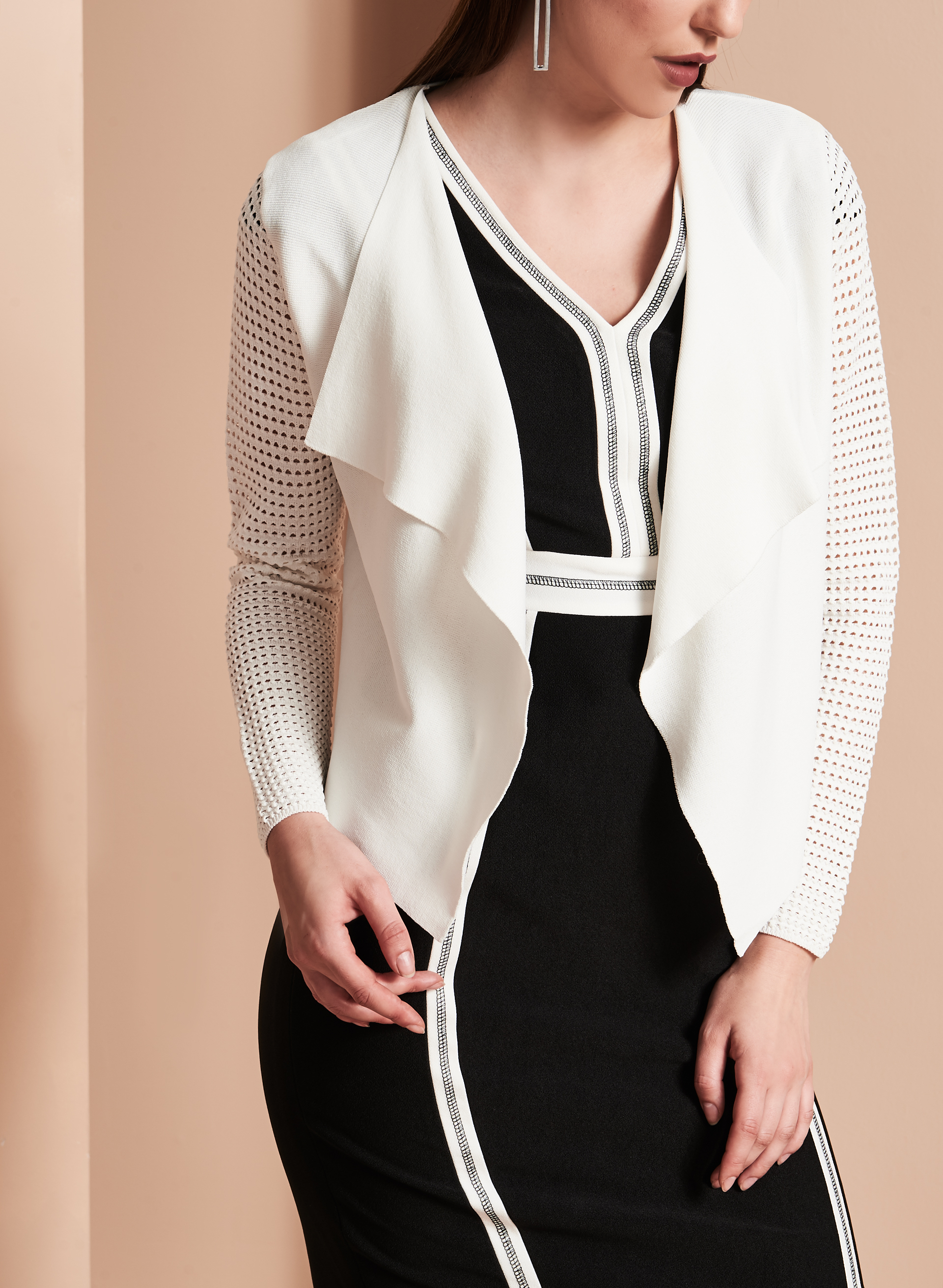 Knit Drape Front Bolero, Off White, hi-res