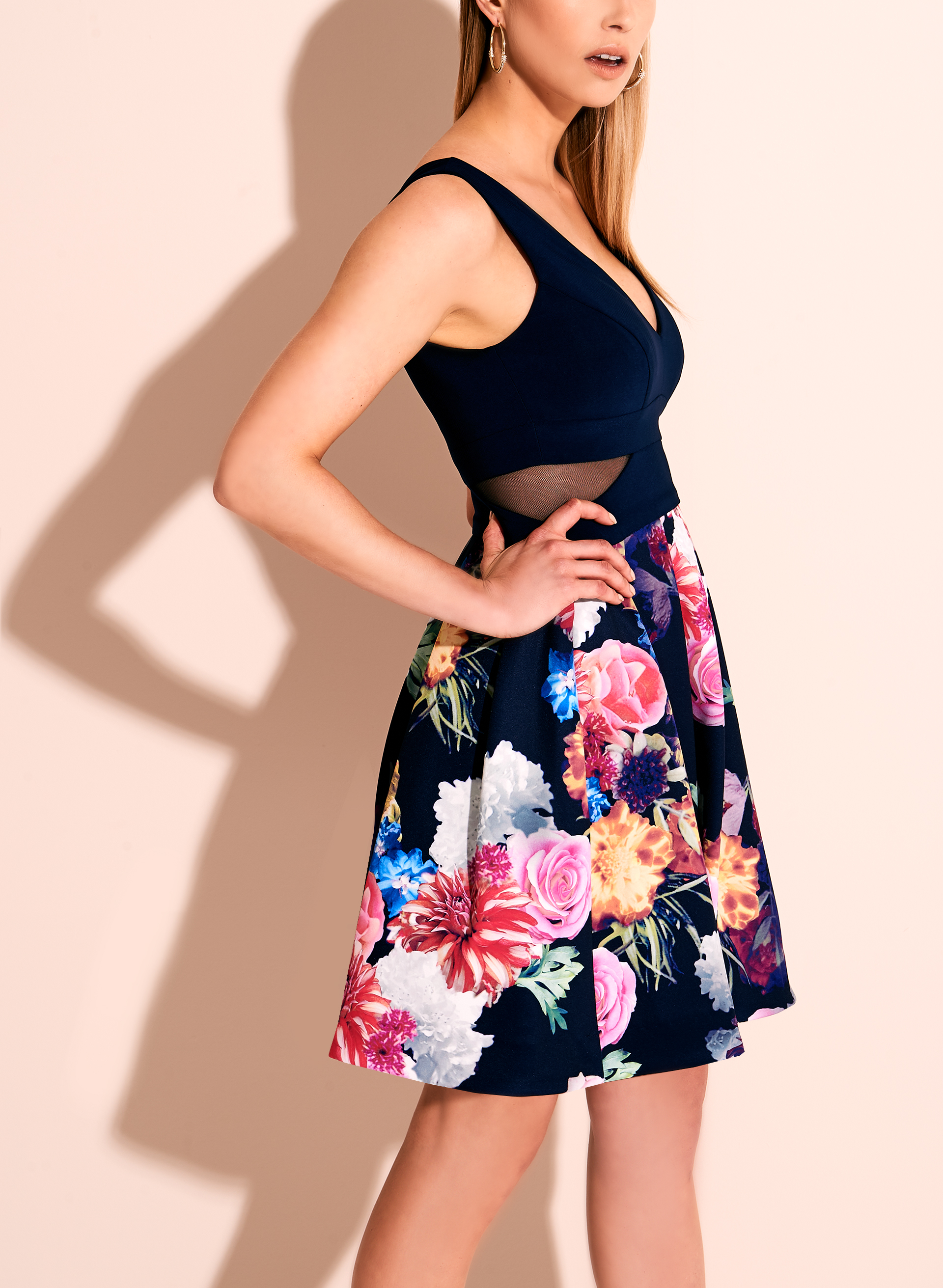 BA Nites Floral Print Dress, Multi, hi-res