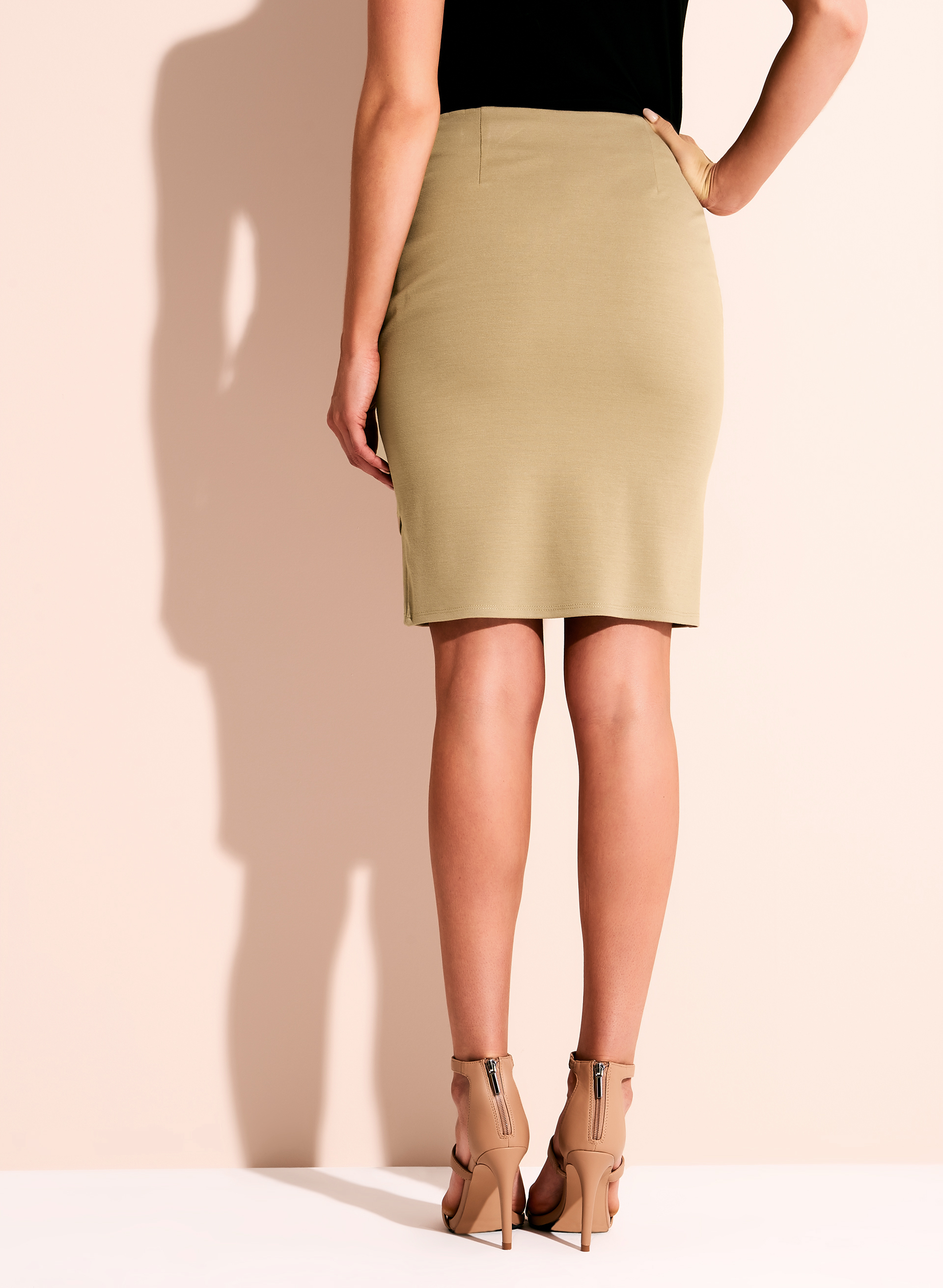 Double Layer Ponte Pencil Skirt, Brown, hi-res