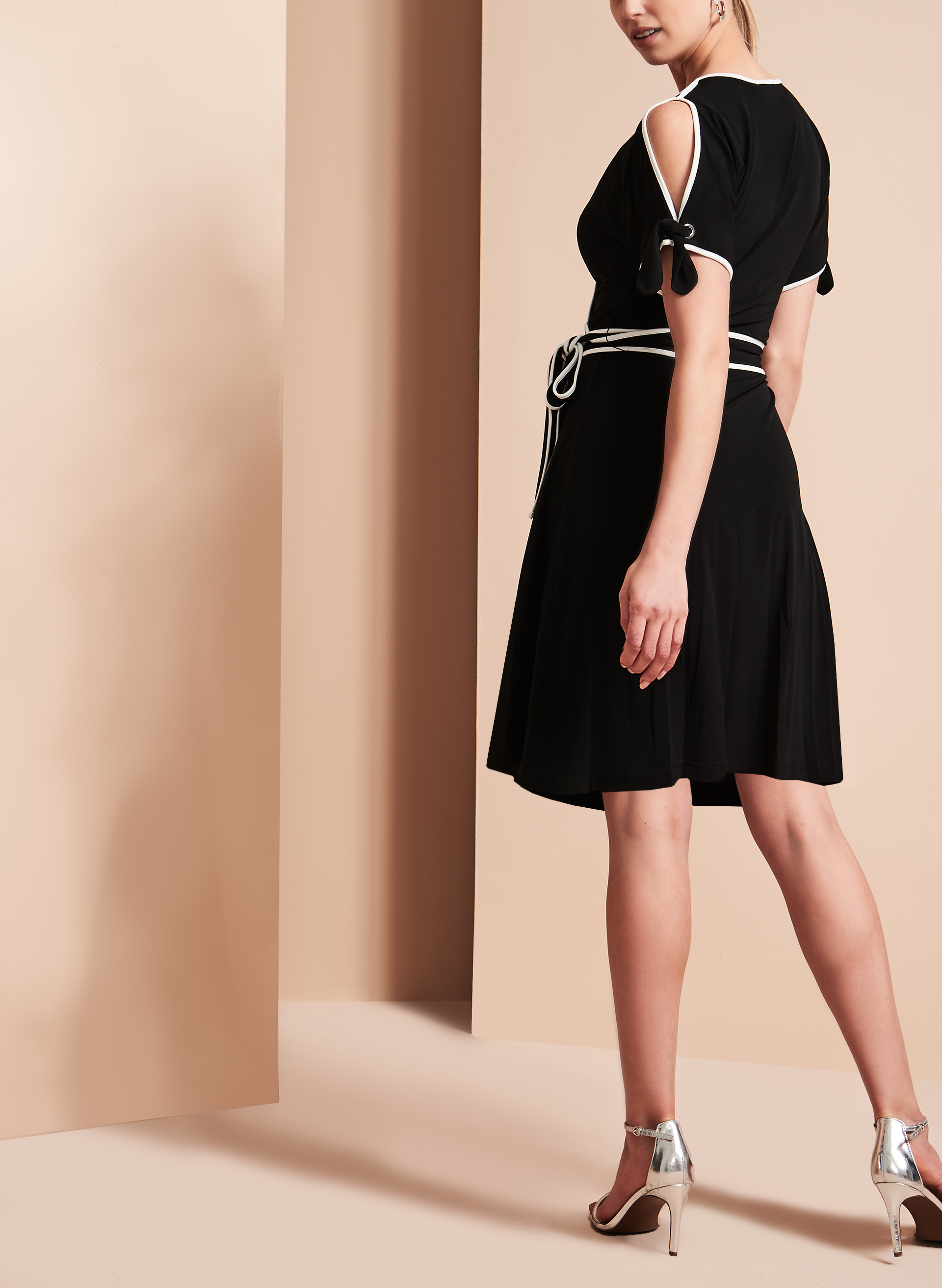 Ivanka Trump Cold Shoulder Wrap Dress, Black, hi-res