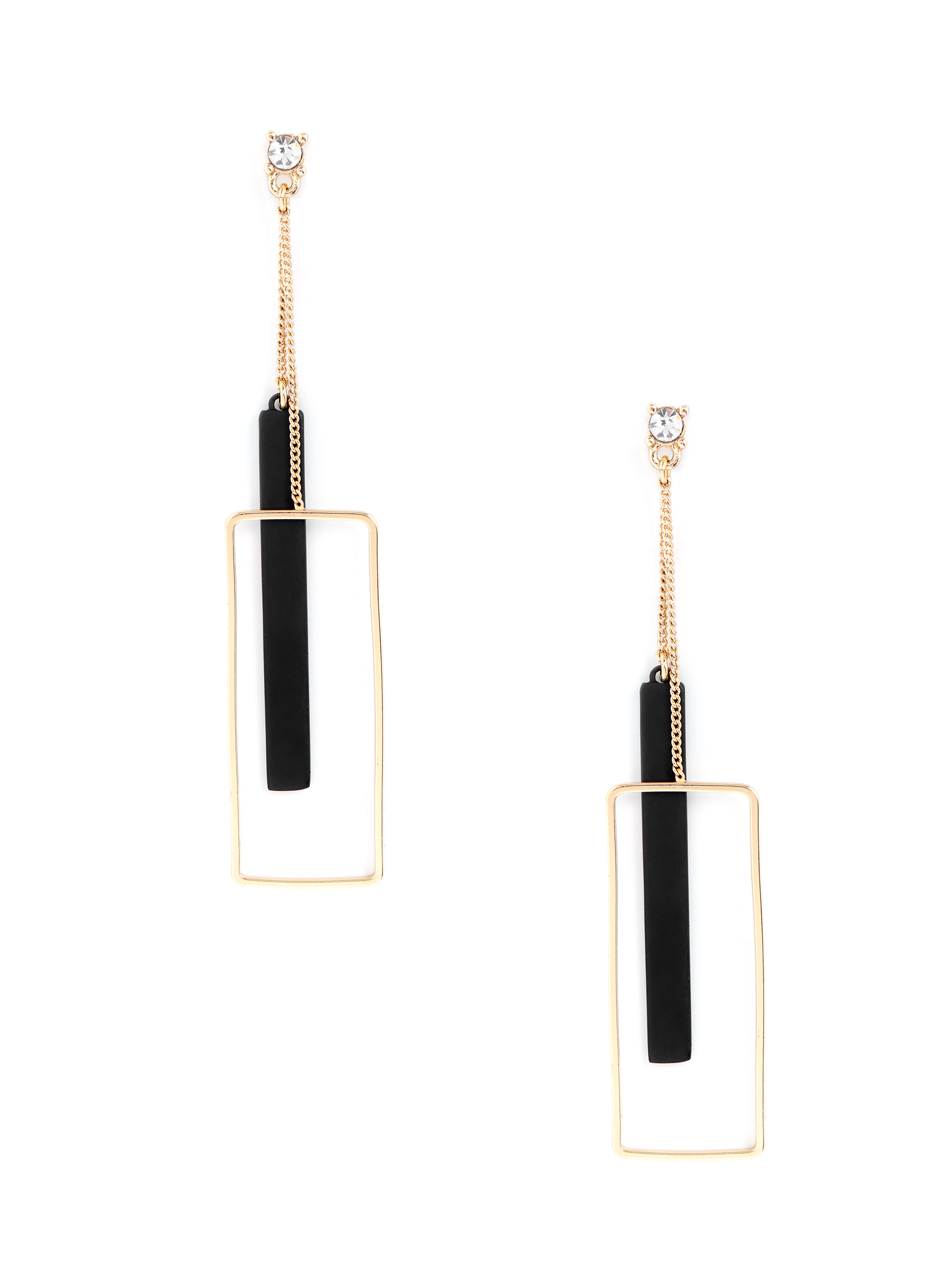Rectangular Pendulum Earrings, Black, hi-res